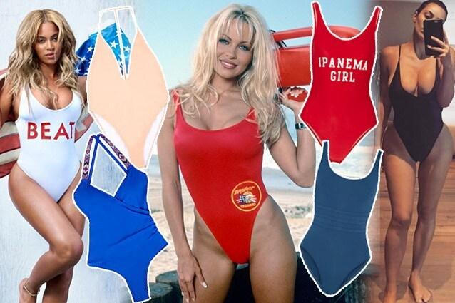 da sinistra: Beyoncé, costumi Asos e Oysho, Pamela Anderson in Baywatch, costumi Adrian Degreas ed Eres, Kim Kardashian