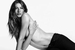 Gisele in topless: solo un paio di jeans per la top negli scatti in bianco e nero