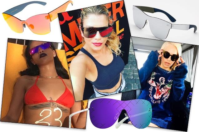 da sinistra occhiali Charlie Max, Rihanna, Emma Marrone, occhiali Chanel, RIta Ora e occhiali Super by Retrosuperfuture