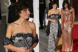 Agnese Renzi all'ultima cena di Stato, la first lady coperta di cristalli e pizzo