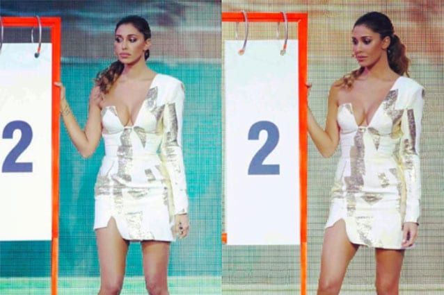 Ancor prima Belén era apparsa sul palco del talent show di Canale 5 con il  corpo fasciato in un sexy abito lingerie vedo non vedo di Alberta Ferretti 78cd66b30df
