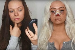 """""""Sono bella ora"""": ricrea con il trucco gli effetti shock della chirurgia plastica"""