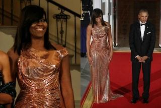 Look dorato da 30mila euro, ecco quanto vale l'abito di Michelle Obama