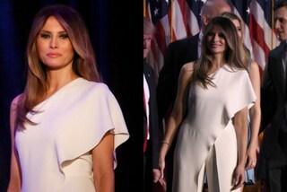 Melania Trump in bianco: il look alla prima apparizione da First Lady