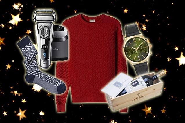 da sinistra: rasoio Braun, calzini Red, pull Falconeri, orologio Henry London, Chianti Antonio Antinori