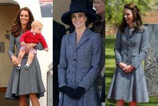 """Kate la """"regina del riciclo"""" indossa sempre lo stesso cappotto"""
