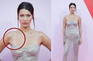 """Bella Hadid a Cannes mostra il segno del costume, """"tintarella imperfetta"""" per la top"""