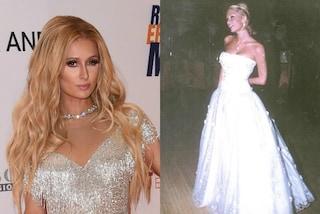 In abito bianco come una sposa, Paris Hilton mostra l'abito dei suoi 18 anni