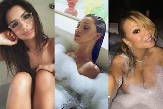 Relax e bolle: le star combattono lo stress in vasca da bagno