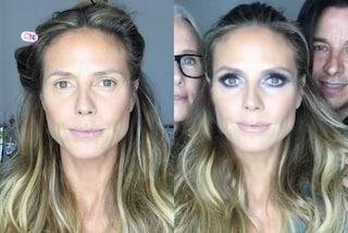 Heidi Klum mostra il volto al naturale: la top prima e dopo il trucco
