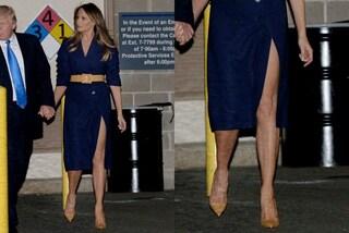 Melania Trump osa con lo spacco: il dettaglio sexy della First Lady