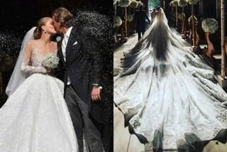 Cascata di cristalli per le nozze di Victoria Swarovski: l'abito da 1 milione di dollari