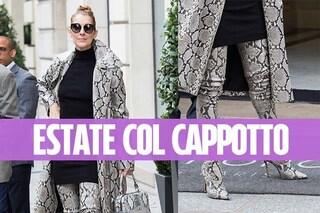 Celine Dion con cappotto e stivaloni: così la cantante combatte il caldo estivo
