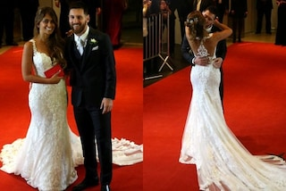 Lungo strascico e schiena scoperta: l'abito da sposa della moglie di Lionel Messi