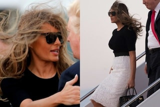 """""""L'incidente"""" di Melania Trump: con i capelli """"scompigliati"""" al ritorno dal G20"""