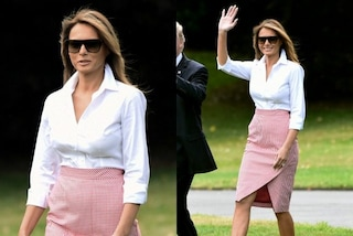 "Melania in ""versione picnic"": gonna a quadretti e tacchi a spillo per la First Lady"