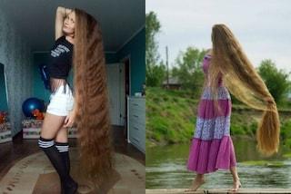 Tre metri di capelli, Daria mostra la chioma più lunga al mondo