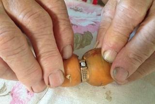 Ritrova l'anello di fidanzamento dopo 13 anni: il gioiello era incastrato in una carota