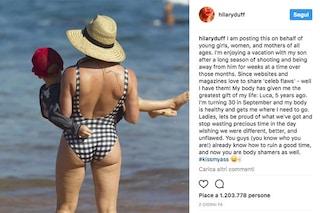 """Hilary Duff mostra la cellulite: """"Non perdete tempo sperando di essere perfette"""""""