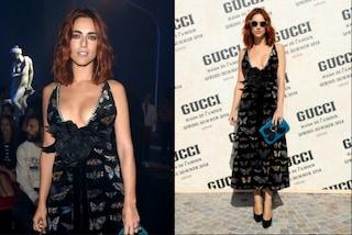 Miriam Leone in prima fila alla sfilata Gucci: l'ex Miss Italia sceglie la maxi scollatura
