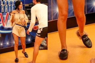 Giulia De Lellis e la passione per le scarpe di pelo: al GF Vip indossa solo capi griffati