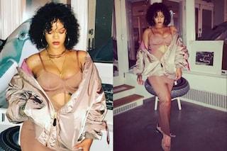 Curve burrose in mostra e ricci: il nuovo volto di Rihanna