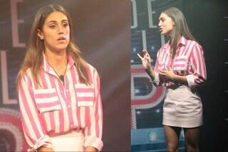 Camicia a righe e minigonna: il look di Cecilia Rodriguez per la nona puntata del GF Vip