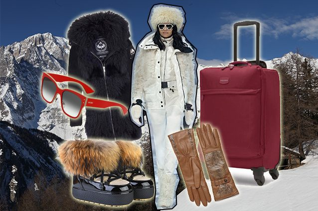 parka Moose Knuckles, occhiali Moschino, scarponcini Jog Dog, look Moncler, trolley Fedon, guanti Bottega Veneta