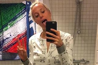 Federica Pellegrini in pigiama e senza trucco: così la nuotatrice dà il buongiorno ai fan