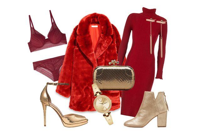 Abiti rossi e accessori oro  ecco come creare un look trendy per le ... 860fa97a306