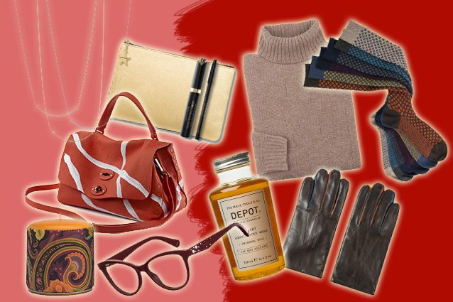 collane Tiffany, bag Zanellato, candela Etro Home, pochette Max Factor, occhiali Max and Co, dolcevita Brooksfield, bagnoschiuma Depot, guanti Paul Smith, calze Gallo