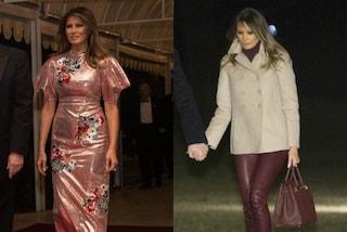 Melania Trump: Capodanno con le paillettes rosa, leggings rock per l'inizio dell'anno