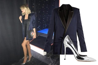 Alessia Marcuzzi: giacca maschile e tacchi argento per l'Isola 2018