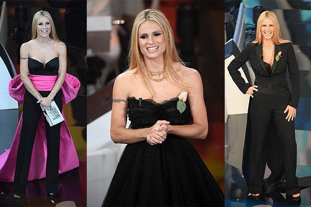 Michelle Hunziker sul palco della quarta serata di Sanremo