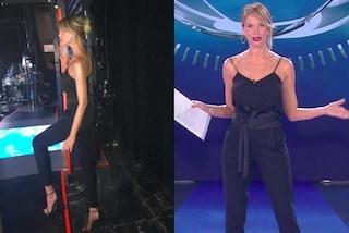 Alessia Marcuzzi in nero all'Isola 2018: sceglie la maxi cintura per la terza puntata