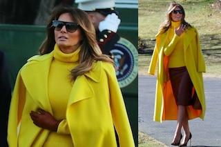 Cappotto giallo e scarpe leopardate: Melania e Donald di nuovo insieme