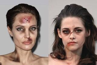 Donne dello spettacolo con il volto tumefatto: la provocazione contro la violenza