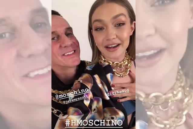 Gigi Hadid e Jeremy Scott annunciano la collaborazione tra Moschino e H&M su Instagram