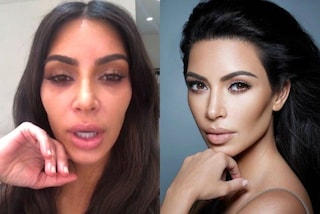 Kim Kardashian prima e dopo il trucco: la star si mostra senza fondotinta sui social