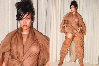 Maxi stivali e capezzoli in mostra: il sexy look di Rihanna al Coachella