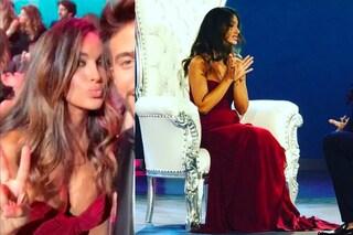 Rosa Perrotta in rosso all'Isola: il look con maxi scollatura per la proposta di nozze