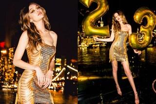 Gigi Hadid sexy per i 23 anni: la modella sceglie il mini abito in oro per festeggiare