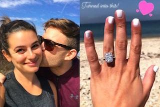 L'anello di fidanzamento di Lea Michele: è un enorme diamante da 4 carati