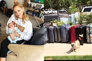 Leo, il cane e 13 valigie: Chiara Ferragni e Fedez tornano in Italia