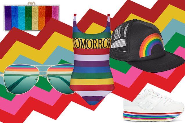 clutch Charlotte Olympia, occhiali Ferragamo, costume Alberta Ferretti, cappello su e–Bay, sneakers Hogan