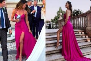Cecilia Rodriguez alle nozze di Daniele e Filippa: abito scollato con maxi spacco