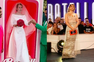 Barbara D'Urso in finale come Meghan: l'abito da sposa si strappa e rivela il nude look