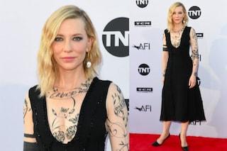 Cate Blanchett tatuata sul red carpet, in realtà è solo l'abito