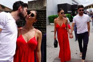Cecilia Rodriguez sexy in rosso senza reggiseno, con Ignazio è la star del Pitti Uomo 94