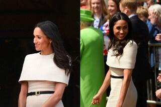La prima uscita di Meghan Markle con la regina: il look scelto è da perfetta principessa